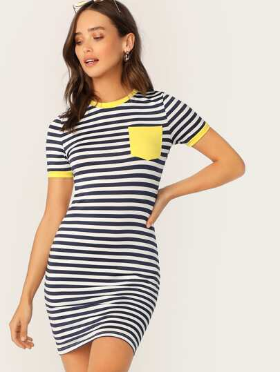 07fcd6c6219 Pocket Patched Striped Ringer Tee Dress