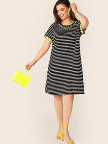 Plus Pom Pom Trim Striped Tee Dress