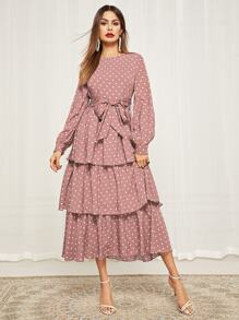 Bishop Sleeve Belted Layered Polka Dot Dress