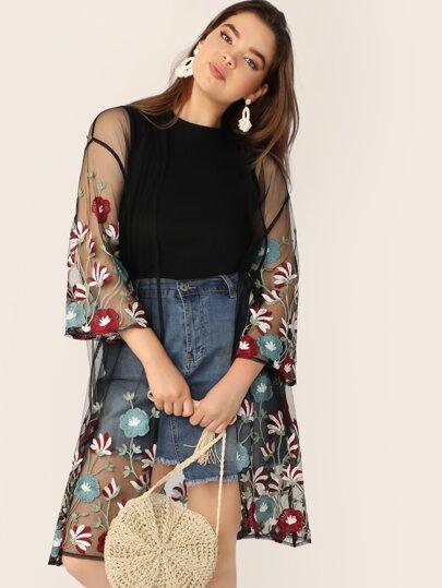 8c640676b4 Plus Size Kimonos, Shop Plus Size Kimonos Online | SHEIN UK