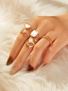 Gemstone Decor Hollow Out Ring 5pcs