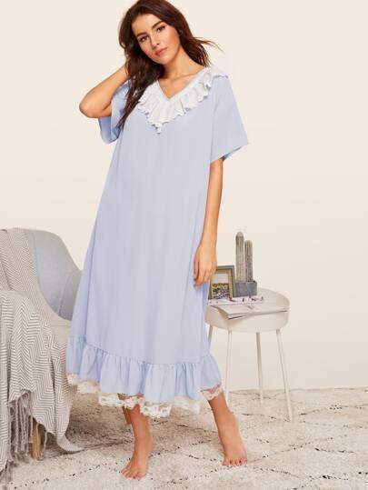 a3b327f41b2f2 لطيف تنورة نوم الأزرق قميص نوم