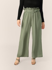 Plus Paperbag Waist Buckle Belted Palazzo Pants