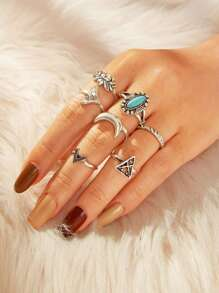 Geometric & Lotus Design Ring 7pcs