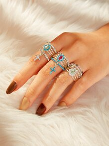 Rhinestone Decor Cross Charm Ring 10pcs