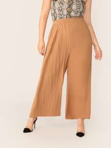 Plus One Side Pleated Palazzo Pants Without Belt