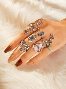Floral & Gemstone Layered Ring 7pcs