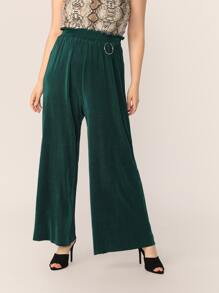 Plus Ring Detail Paperbag Waist Pleated Palazzo Pants