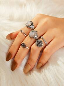 Engraved Ring 6pcs