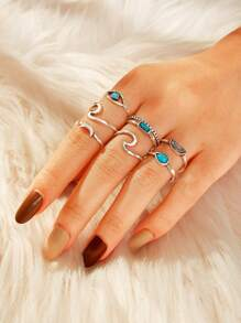 Rainbow & Moon Decor Ring 8pcs