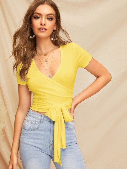 Rib-knit Wrap Belted Crop Tee