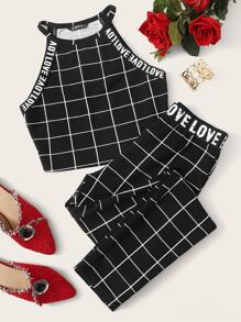 Grid Letter Tape Halter Top & Leggings Set
