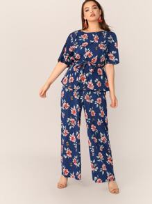 Plus Floral Self Belted Top and Palazzo Pants Set