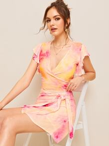 Tie Dye Surplice Neck Butterfly Sleeve Top & Knot Skirt Set