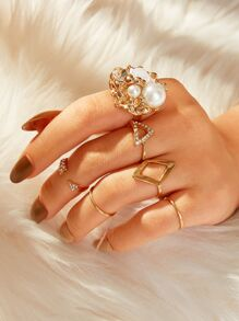 Rhinestone & Pearl Decor Ring 6pcs