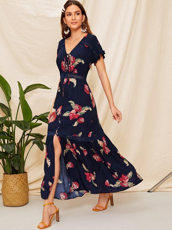 607833fa74b Lace Insert Ruffle Hem Floral Maxi Shirt Dress