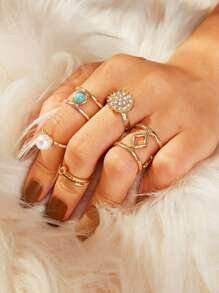 Rhinestone & Pearl Decor Hollow Ring 5pcs