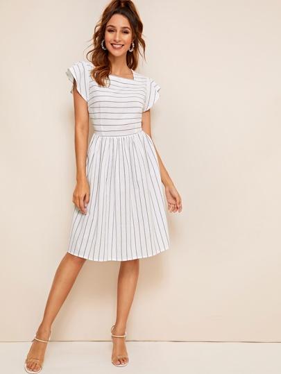 e284cf1420 Striped Square Neck Fit   Flare Dress