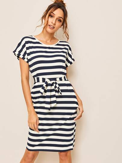 793883ca00c Striped Belted Dress