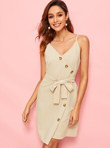 Button Detail Belted Cami Dress