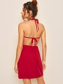 Tie Back Solid Backless Halter Dress