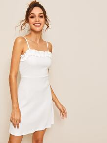 Ruffle Trim Solid Cami Dress