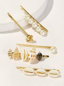 Faux Pearl & Shell Decor Hairpin 5pcs