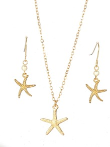 Starfish Pendant Necklace & Drop Earrings 3pcs
