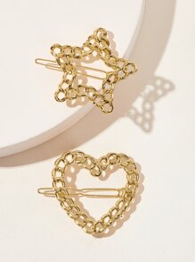 Hollow Out Star & Heart Shaped Hairpin 2pcs