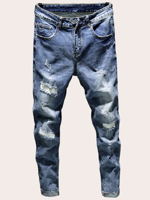 013617ac73 Men Ripped Roll Up Hem Skinny Jeans