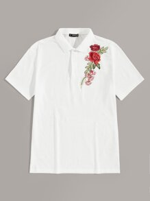 Men Flower Embroidered Polo Shirt