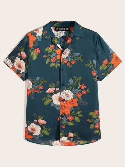 Men Button Front Floral Print Shirt