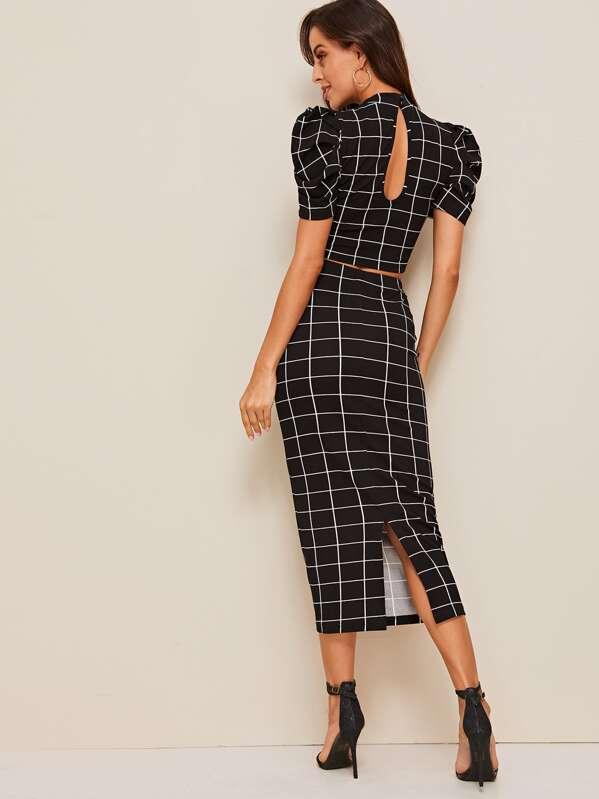 431cdbb4771d Mock Neck Puff Sleeve Grid Crop Top & Pencil Skirt Set   SHEIN