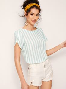 Striped Petal Sleeve Blouse