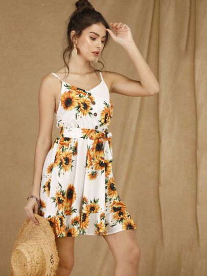 4f47c7f4751 Sunflower Print Button Front Belted Cami Dress