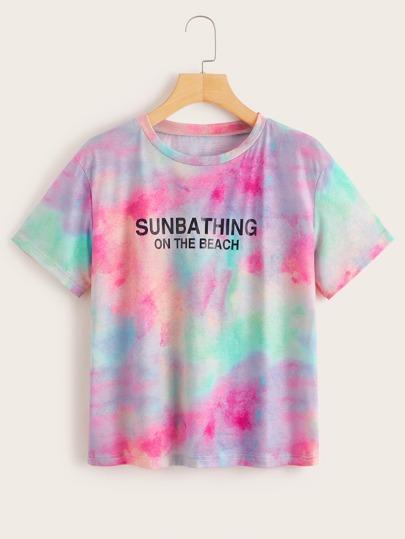 4a8512ccc2 Camiseta con estampado de letra de tie dye