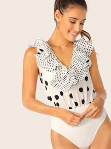 Polka Dot Exaggerate Ruffle Trim Bodysuit