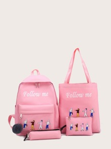 Figure Print Backpack With Pencil Case 4pcs