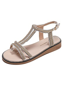 Rhinestone Decor Open Toe Sliders