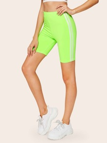 Neon Green Side Striped Cycling Shorts