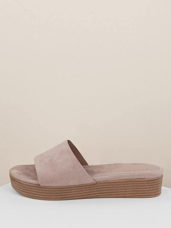 Platform Sandals Wide Solid Slide Stacked Band 3Lj5R4A