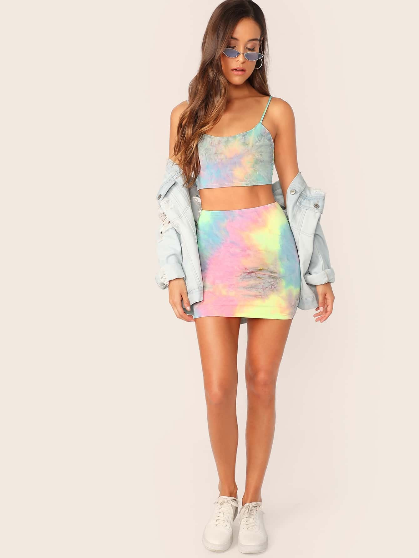 62a7c8ff06e3 Scoop Neck Tie Dye Cami Top And Mini Skirt Set | SHEIN