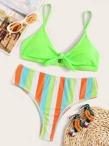 Neon Green Tie Front Top With Striped Bikini Set