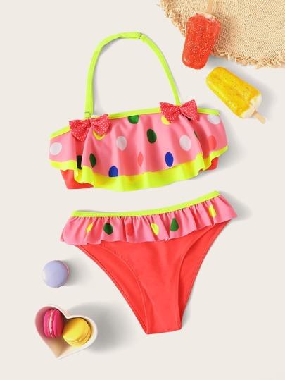 ed6bdb62e2f Girls Bow Decor Polka Dot Ruffle Halter Bikini Set