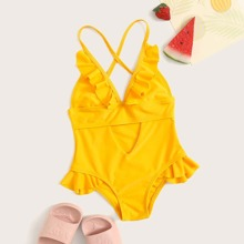 Toddler Girls Criss-cross Ruffle Trim One Piece Swimsuit