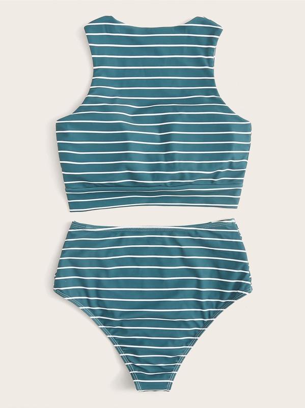 9799093f1b478 Striped Knot Hem Top With Ruched High Waist Bikini | SHEIN UK