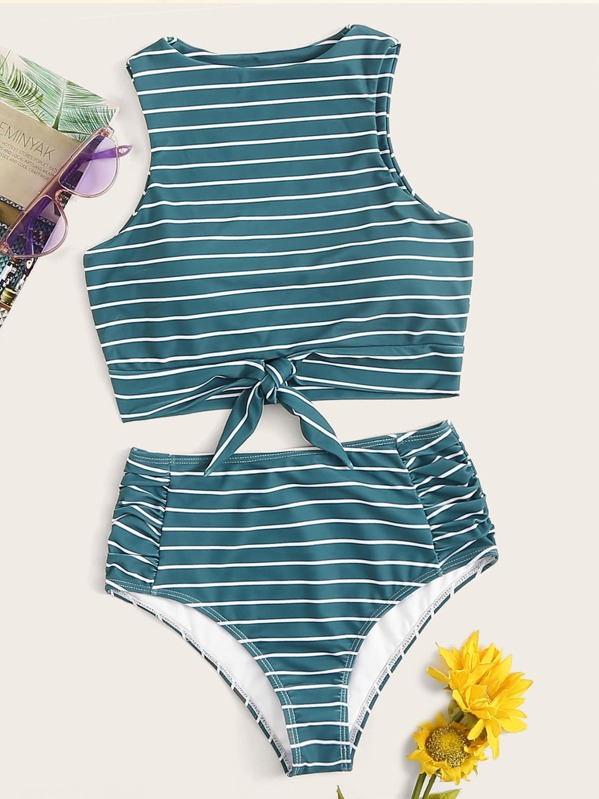 5cea49def9 Striped Knot Hem Top With Ruched High Waist Bikini | SHEIN