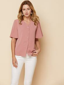 Butterfly Sleeve Button Front Blouse