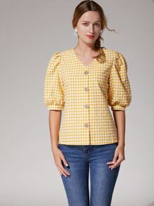 Gingham Print Bishop Sleeve Button Front Blouse