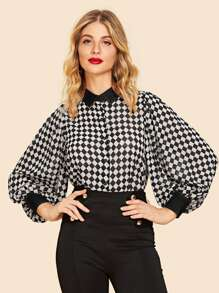 Checkerboard Print Bishop Sleeve Shirt